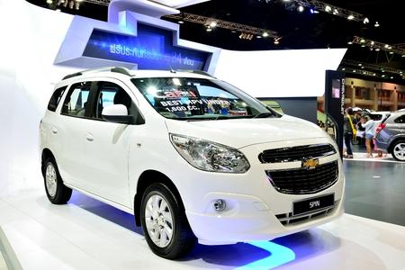 mpv: BANGKOK - March 26 : New Chevrolet Spin, Mini MPV, on DisPlay at 36th Bangkok International Motor Show on March 26, 2015 in Bangkok, Thailand.