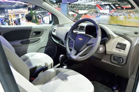 BANGKOK - March 26 : Interior design of Passenger room of Chevrolet Spin, mini MPV, on DisPlay at 36th Bangkok International Motor Show 2015, on March 26, 2015 in Bangkok, Thailand.