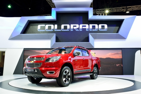 4wd: BANGKOK - March 26 : New Chevrolet Colorado High Country, 4WD Pick up truck, on DisPlay at 36th Bangkok International Motor Show on March 26, 2015 in Bangkok, Thailand.