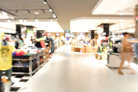 ceiling: Blur background with bokeh light of Department store in Shopping Mall