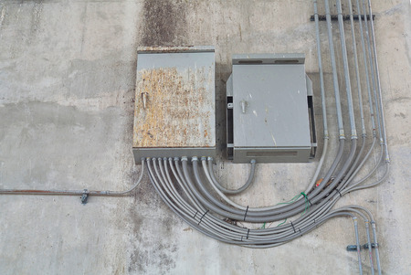 electrical system: Load Center Cabinet in Electrical System at External Building, Grunge style