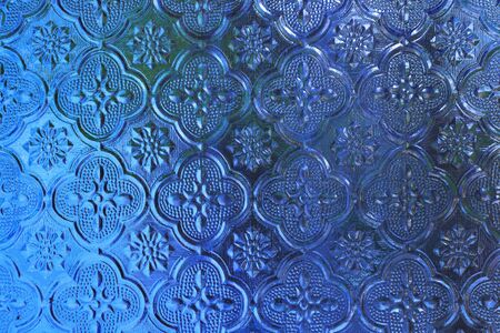 glass background: Blue stained glass background Stock Photo