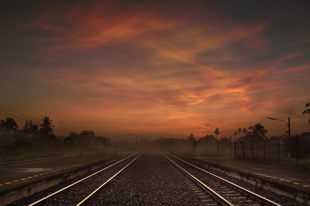 railway points: Railway way at the Dusk or in the Morning with Dramatic Lighting Stock Photo