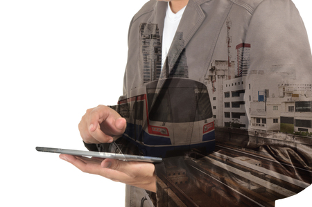 wireless terminals: Double Exposure of Business Man and Skytrain or Subway as Modern City Transportation or Business Travel concept. Stock Photo