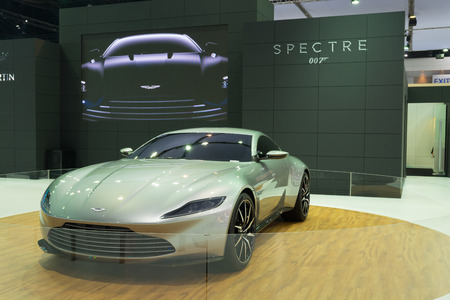 spectre: NONTHABURI - MARCH 23: Aston Martin DB 10 (James Bonds Car in Spectre) on display at The 37th Bangkok International Motor show on MARCH 23, 2016 in Nonthaburi, Thailand. Editorial
