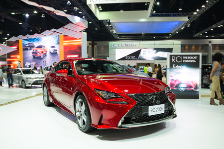lexus: NONTHABURI - MARCH 23: NEW Lexus RC 200t on display at The 37th Bangkok International Motor show on MARCH 23, 2016 in Nonthaburi, Thailand.