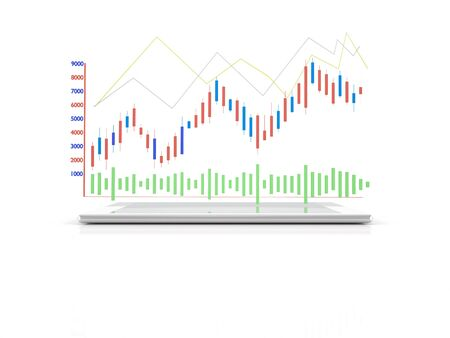 digital tablet: Digital Computer Tablet with 3d Analysis Graph on White Background as Wireless device Concept Stock Photo