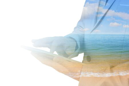 rest day: Double Exposure of Businessman use Computer Tablet With Summer Sunny Beach as Holiday Travel Concept