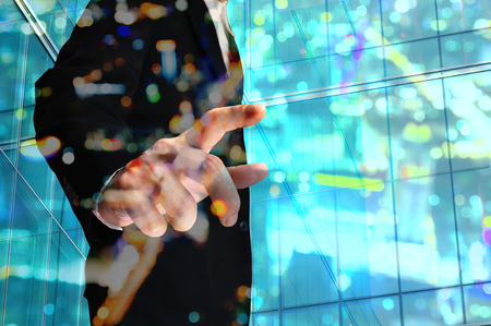 double glass: Double Exposure of Businessman with Building decorated with Glass and Bokeh reflection Stock Photo