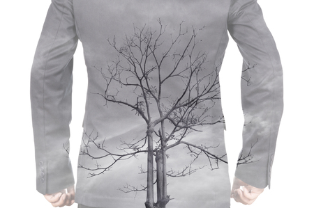 vertebral column: Double Exposure of Businessman and Dead tree as Vertebral column in Healthy Medical Concept