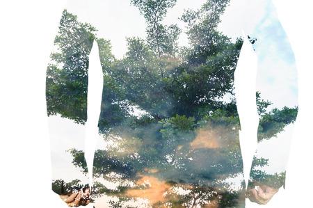 feuille arbre: Double exposition d'affaires avec Big Tree and Leaf que le travail Business Team Concept