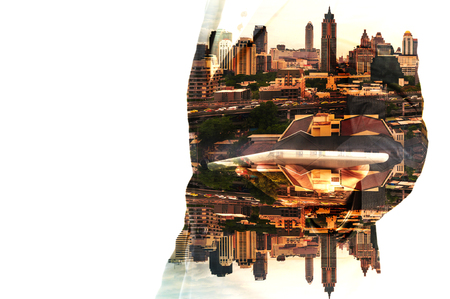 Double Exposure Hand of Businessman and City Building as Digital Business Technology Concept Stock Photo