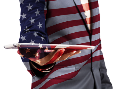 politic: Double Exposure of Businessman with Cloud and America Flag as American Election or Politic concept Stock Photo