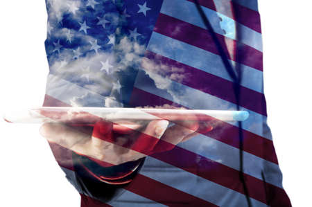 american election: Double Exposure of Businessman with Cloud and America Flag as American Election or Politic concept Stock Photo