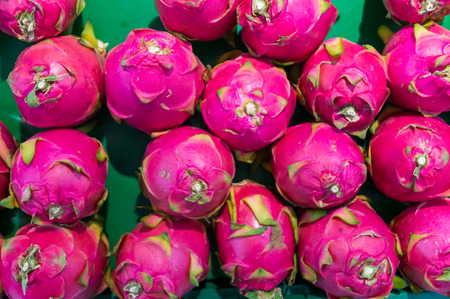 cactus species: Dragon fruit on market stand, Thailand, for use as Background pattern