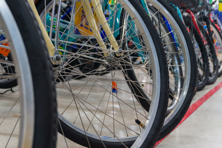 aluminum wheels: Bicycle Stainless Wheel and Tire Line up, Shallow depth of Field