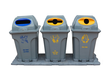 segregate: Recycle bin colorful for trash your garbage and seperate type object for reuse protect our environment isolate on white background.