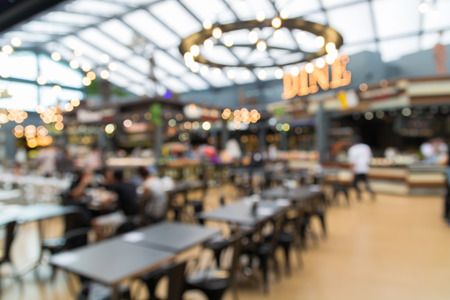 departmentstore: People in Food Center or Food Court or Food Park, Abstract Blur Defocus Background Stock Photo