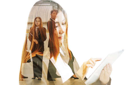 Double Exposure of Businesswoman use Wireless Digital Mobile Tablet with Business Team group as Business Technology Telecommunication Concept. photo