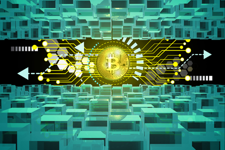 Bitcoin or Crypto Currency activity on Cyberspace and Block Chain Environment as E-Currency or Wallet and Cyberbanking concept. 3d rendering
