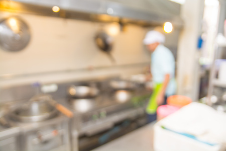 abstract blur Background of Kitchen with Chef or Cooker Prepare Food or Main Dish for Customer with Bokeh
