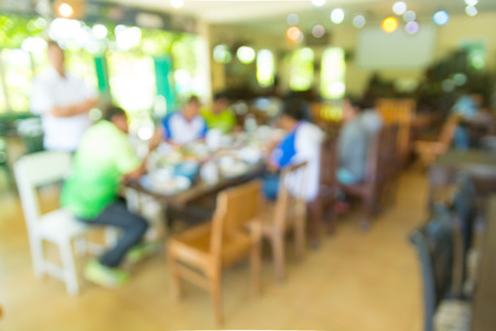 Blur Abstract Background of People or Asian men Business Meeting in Restaurant or Coffee Shop as Modern Business Lifestyle Brainstorming and Cooperative Zdjęcie Seryjne