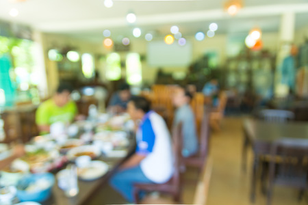 Blur Abstract Background of People or Asian men Business Meeting in Restaurant or Coffee Shop as Modern Business Lifestyle Brainstorming and Cooperative Standard-Bild