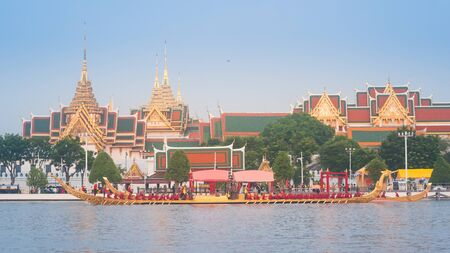 Bangkok, Thailand - October 10, 2019: Royal Barge Suphannahong, with head of Thai Fairytale Bird, proceeds down the Chao Phraya River to Royal Palace in royal barge procession Training Day