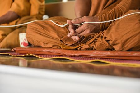 thai monk: Thai monk meditation in religious ceremony
