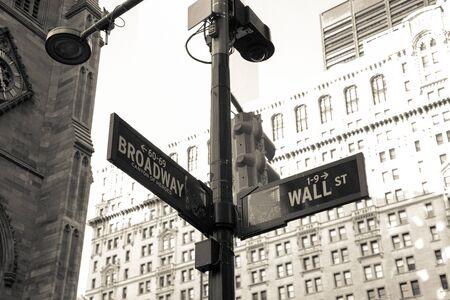 Sign wall street in Brooklyn New York City America Stock Photo