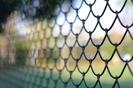 fencing wire: Chain link fencing Cyclone Fence Stock Photo