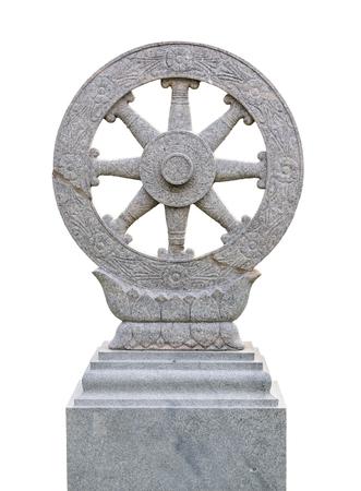 dhamma: Dhammajak, wheel of Dhamma, Dhamma is Buddhas teaching on white background