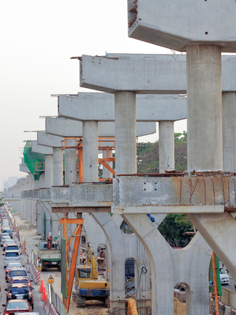 Sky train under construction