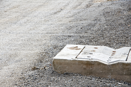Road construction and sewer drainage, Seeing grit and sand are not finished. Close up photography, Stock Photo