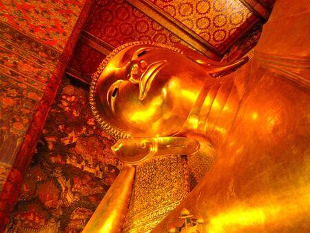 Buddha of Wat pho is big reclining Buddha of Thailand and ancient remains and visitland of Bangkok, Thailand