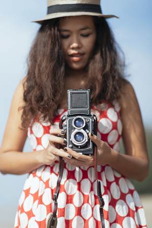 Woman With Vintage Camera photo