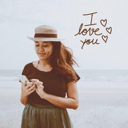 typology: Mensaje amor de la inspiraci�n con el efecto de Filtro Retro Foto de archivo