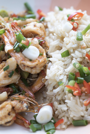 asian cuisine: Prawns fried with chilies and green onions, Asian cuisine food