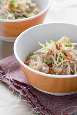 Asian Restaurant Food, Steamed minced pork with ginger and chilies