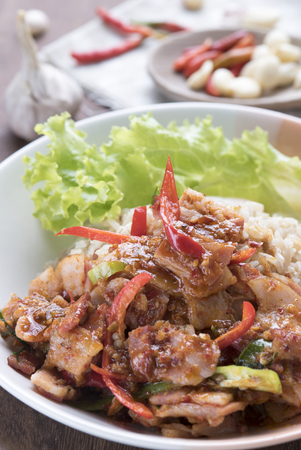 Asian Food, Spicy Bacon with brown rice and chilies