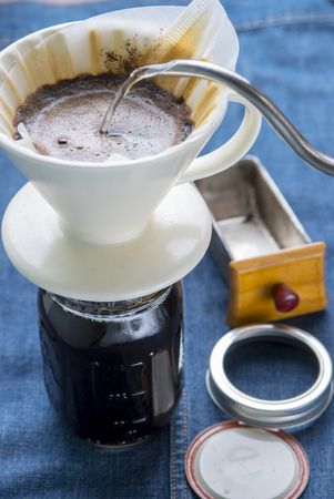 brewed: Making brewed coffee from steaming filter drip style.