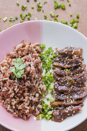 baked meat: Baked meat with honey eating with rice and green onion.