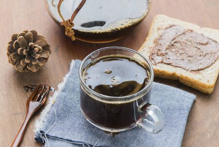cofe: Cup of espresso coffee making by homemade with chocolate bread. Stock Photo