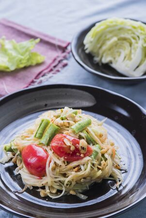 somtum: Papaya salad Thailand food call Som Tum Thai with vegetables.