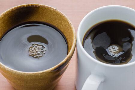 Two cups of espresso coffee for coffee break. Stock Photo