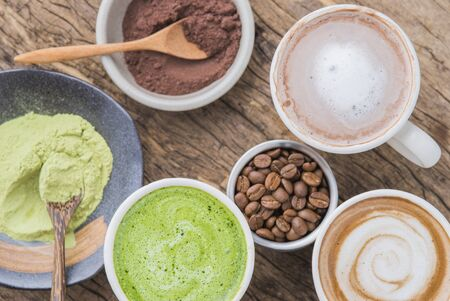 Hot drinks with latte coffee matcha green tea and chocolate.