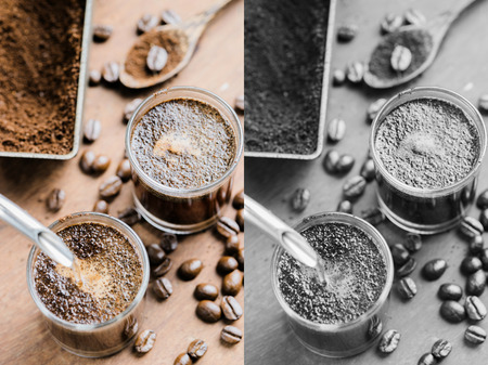 cofe: Hot espresso coffee making from Arabica beans served in a cup. Photo in vintage color tone style. Stock Photo