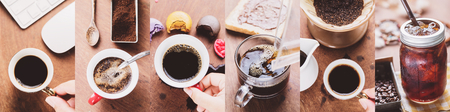 Coffee collage set of arabica or robusta in a cup of cafe. Photo in vintage color tone style.