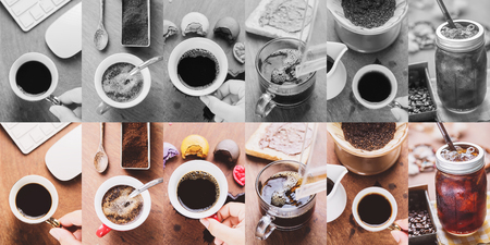 cofe: Making brewed arabica coffee from steaming filter drip style. Photo in vintage color tone style.