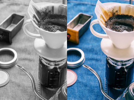 Making brewed arabica coffee from steaming filter drip style. Photo in vintage color tone style.